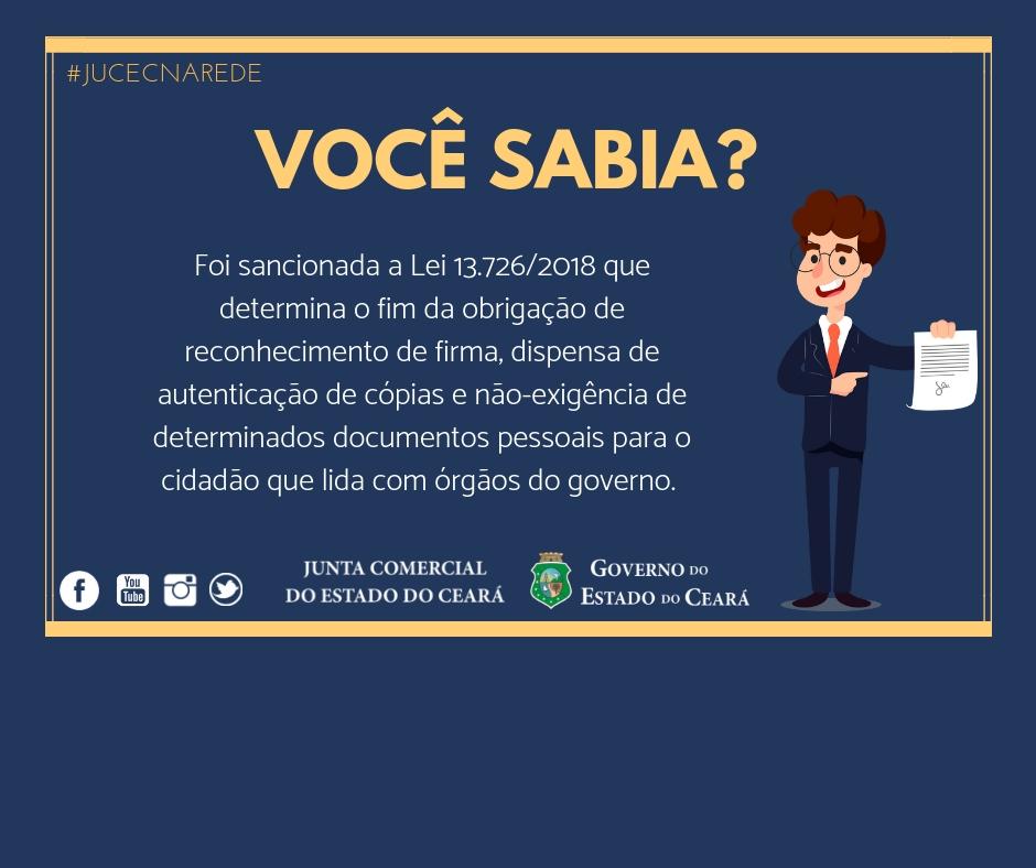 Lei 13.726/2018 dispensa reconhecimento de firma e autenticação de documento