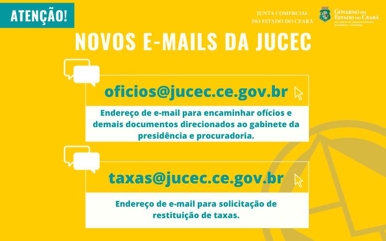 Confira os novos e-mails da Jucec para encaminhar ofícios e solicitar restituição de taxas