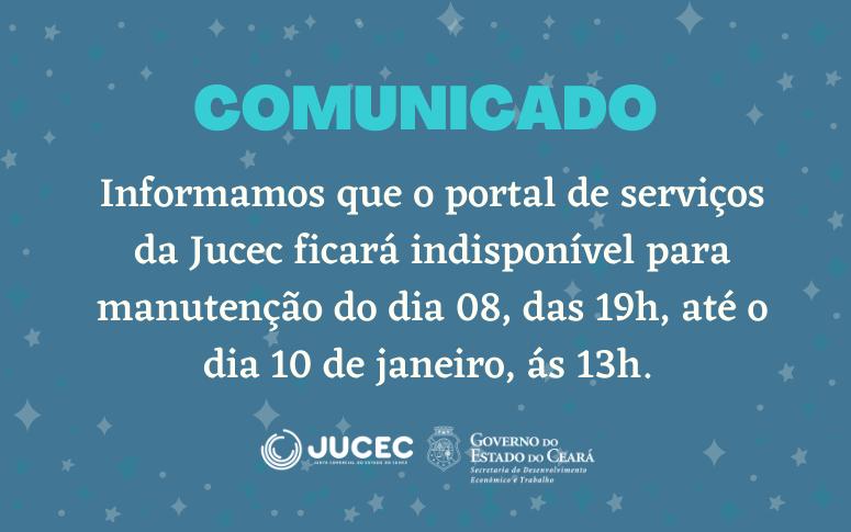 Portal de serviços da Jucec ficará fora do ar para manutenção